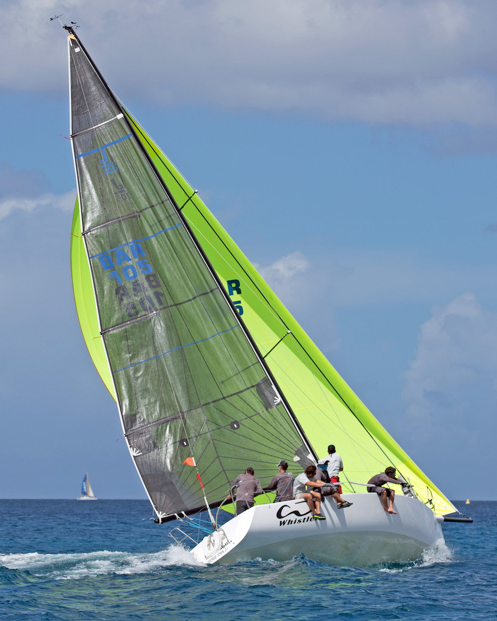 Team Whistler (J/105) battle to keep the spinnaker flying on the tight reach. Photo Peter Marshall/BSW.
