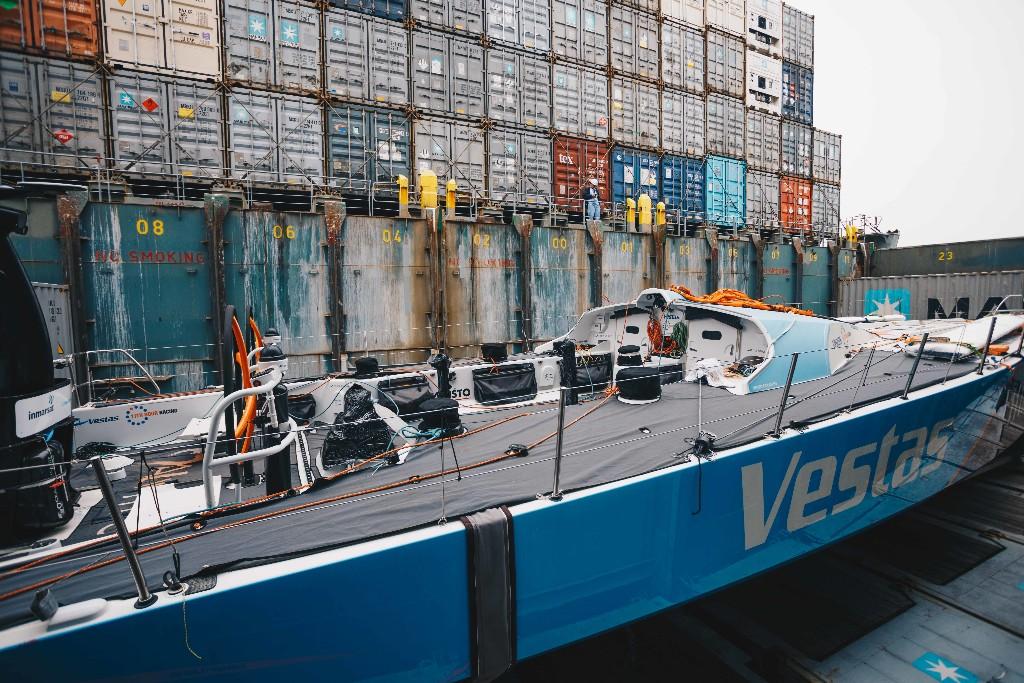 Vestas 11th Hour Racing on board the ship. Photo: Atila Madrona/ Vestas 11th Hour Racing.