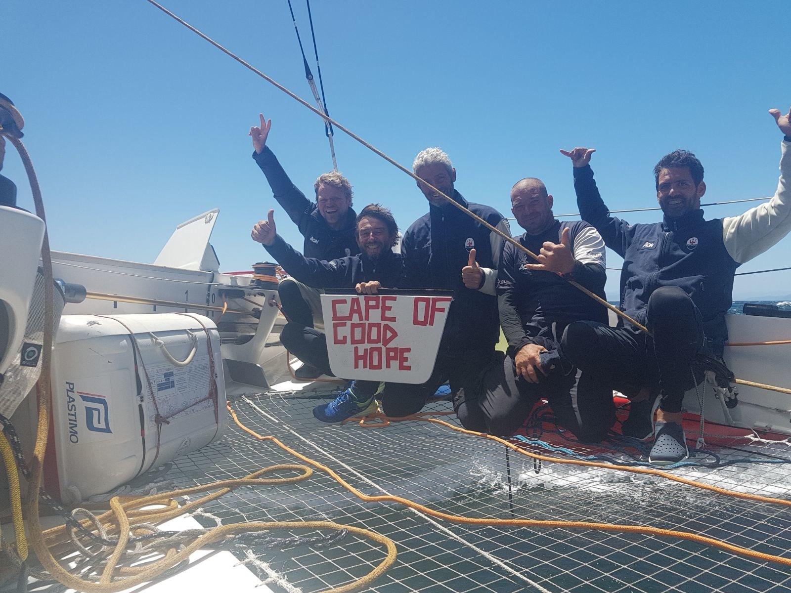 The Maserati crew celebrates passing the Cape of Good Hope.
