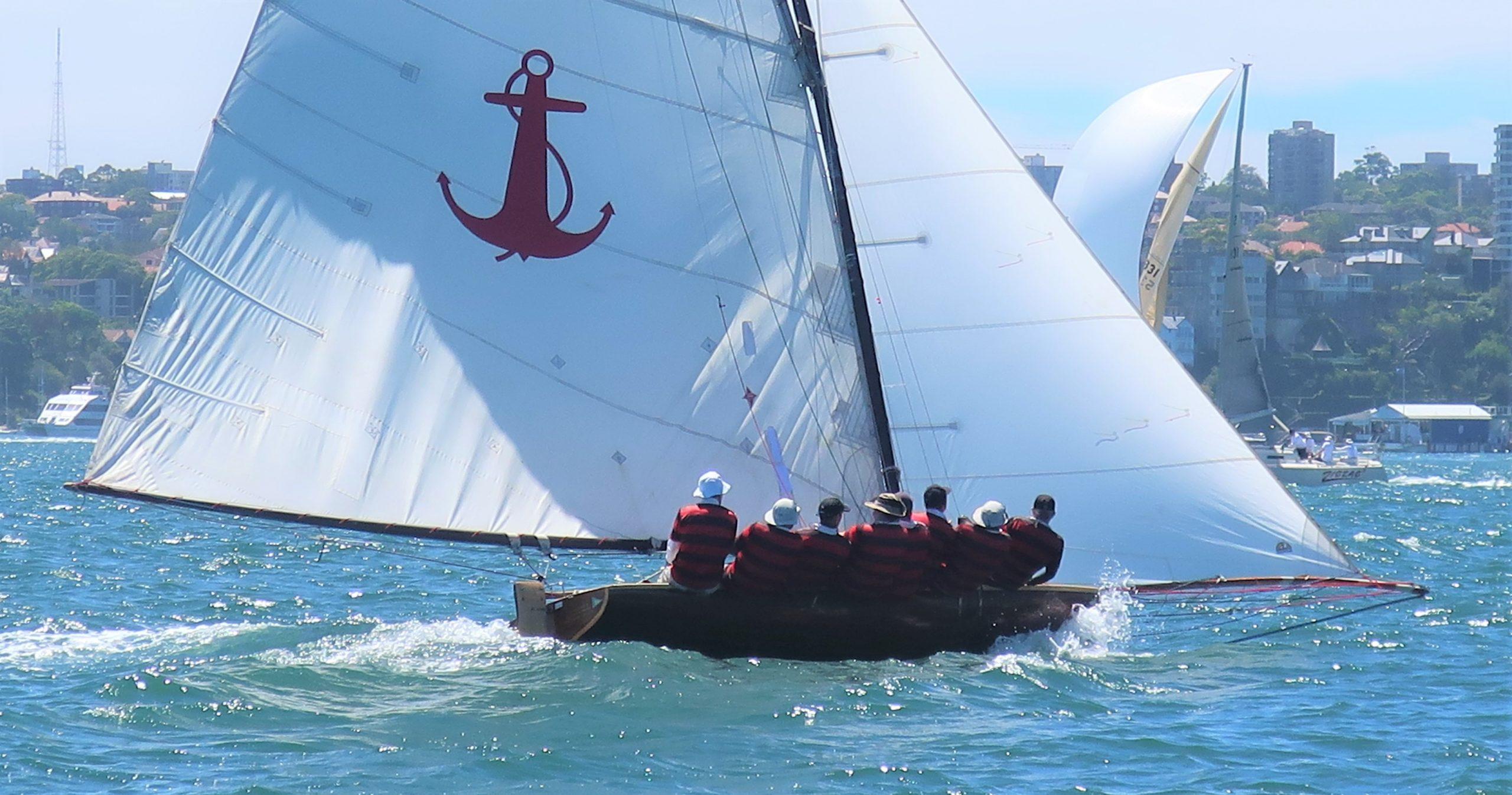 Yendys in the Historical Skiffs Championship. Photo Adrienne Jackson.