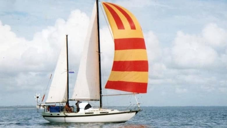 Police are appealing for help to find a man who left Hervey Bay on this 10-metre Manitou ketch yacht on February 14. Photo: Police Media.