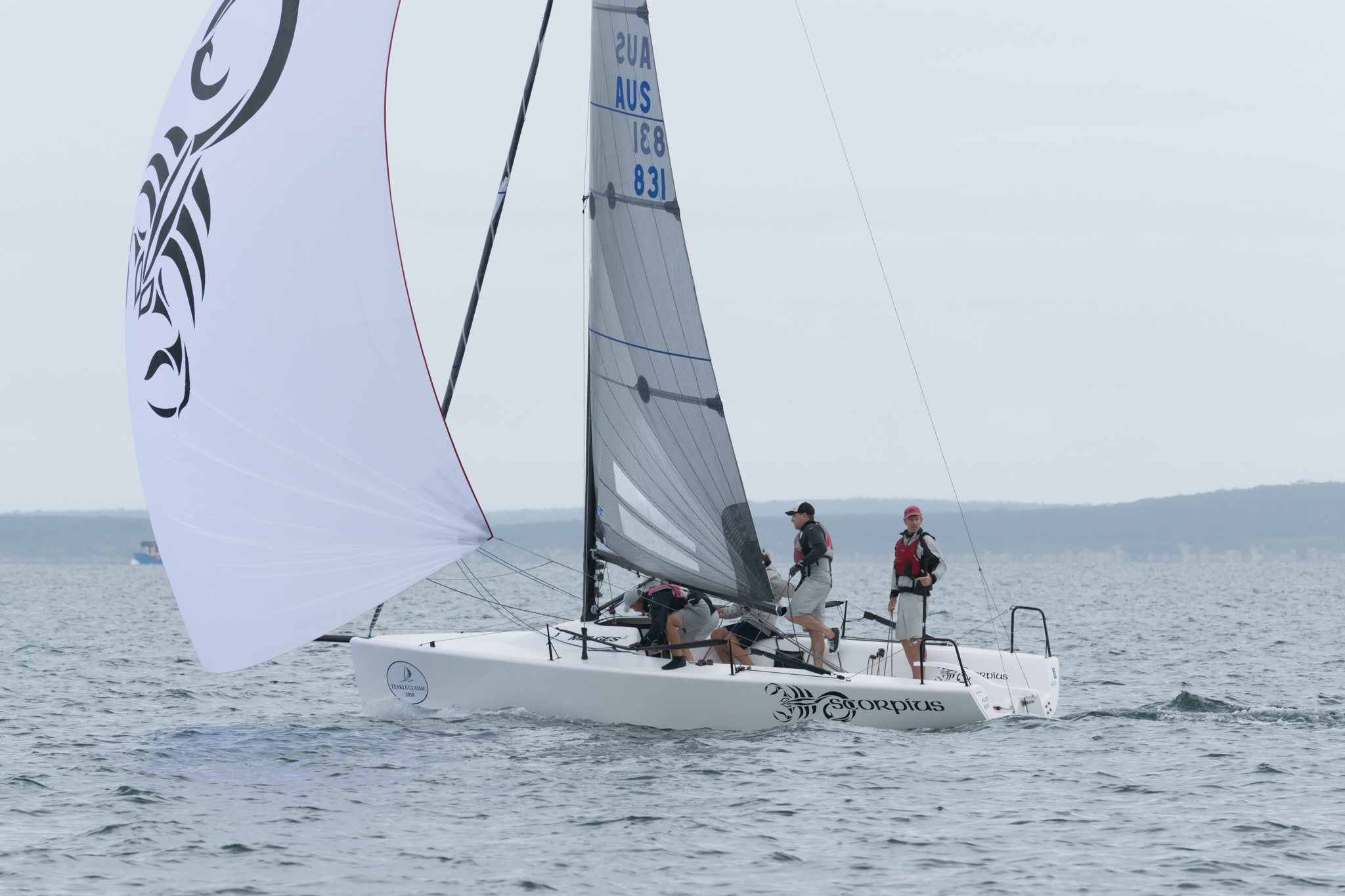 Sandy Higgins' Scorpius has maintained the lead in the regatta. Photo Harry Fisher.