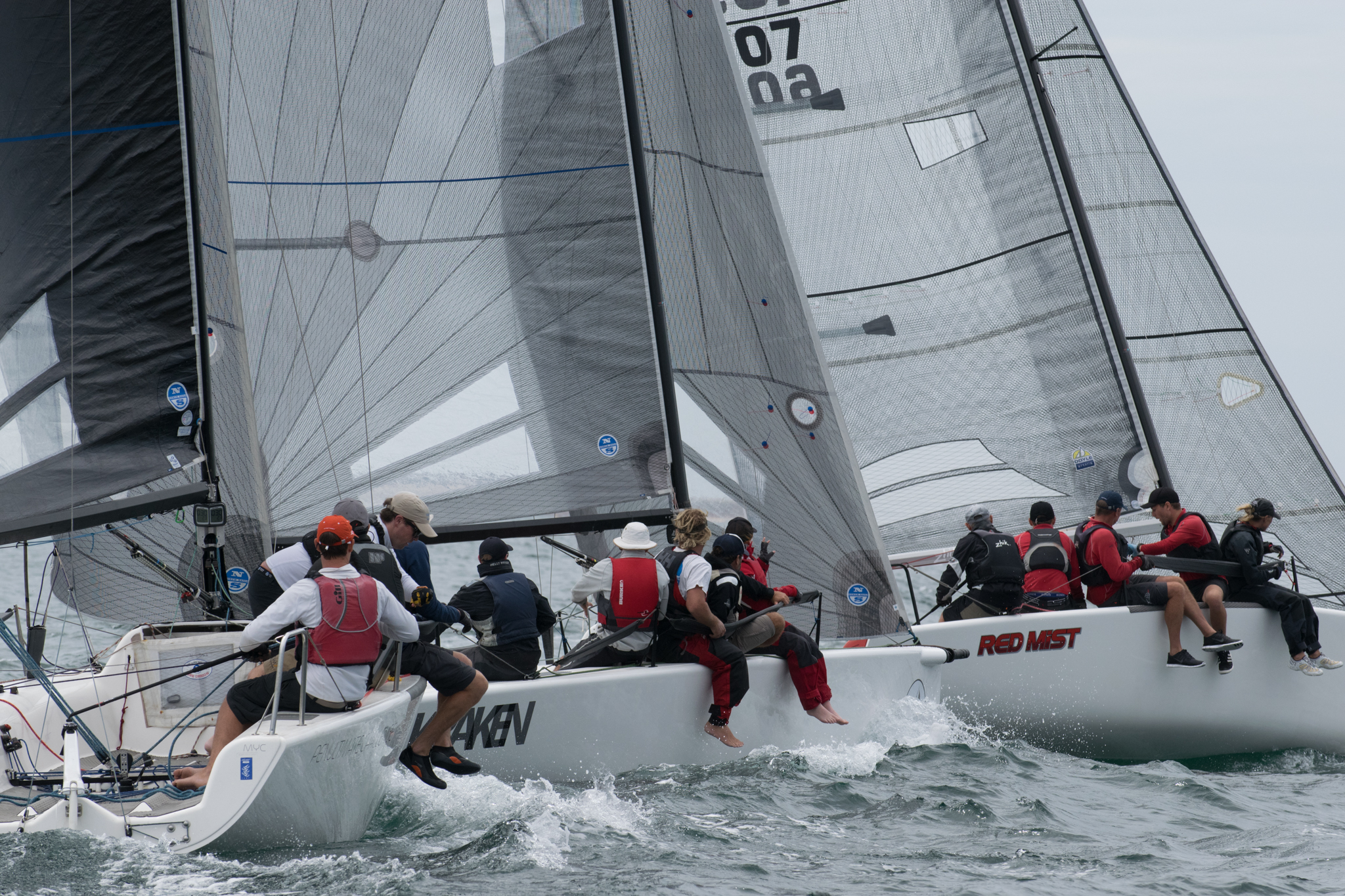 The fleet was tight on the penultimate day of racing. Photo Harry Fisher.