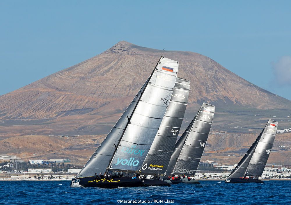 Racing off Lanzarote's moon-like landscape. Photo Martinez Studio.