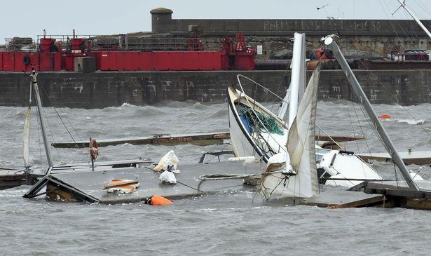 Holyhead Marina damage. (Image: Daily Post Wales)