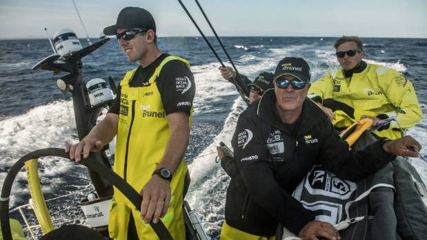 Peter Burling at the helm of Team Brunel during the Volvo Ocean Race.  MARTIN KERUZORE/VOLVO OCEAN RACE.