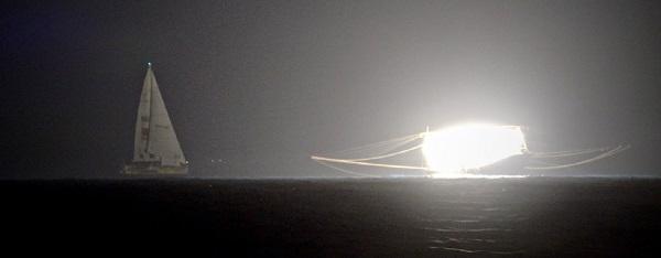 Clipper fleet sailing through a fishing fleet off the China coast. Photo Clipper Ventures.