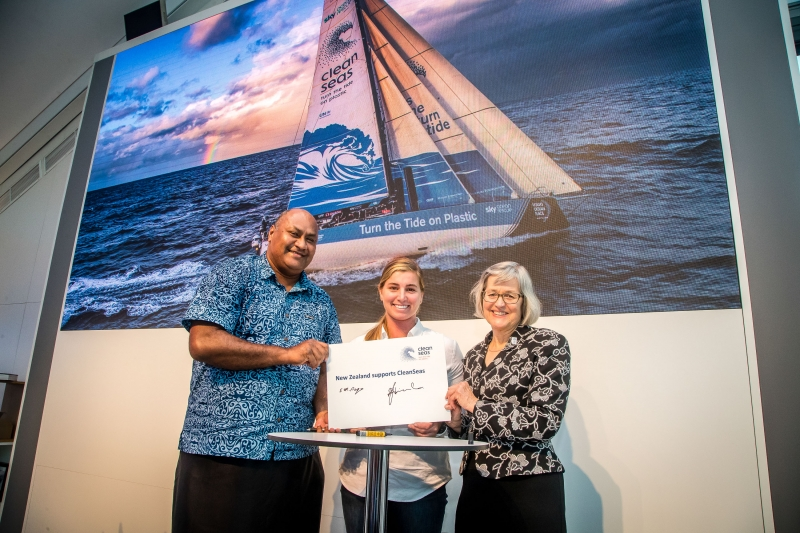 New Zealand Government joins the United Nations CleanSeas campaign in Auckland Race Village. 12 March