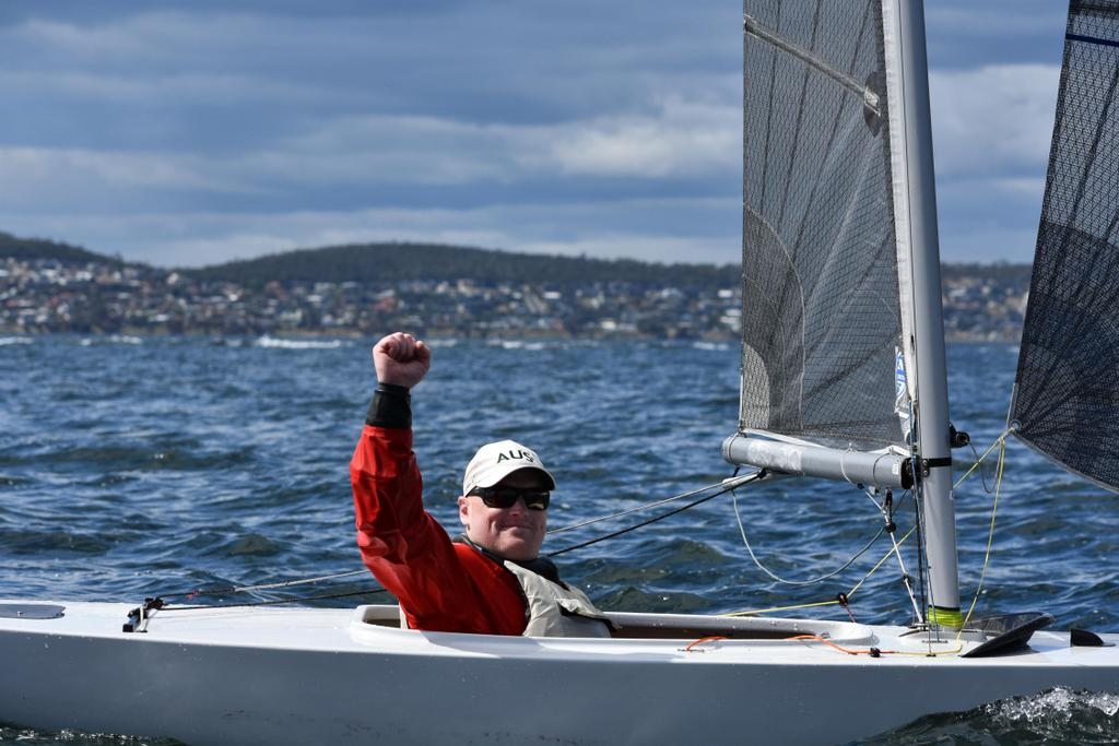 Matt Bugg waves after winning his eighth consecutive Australian championship today in the 2.4mR class.  Photo Jane Austin.