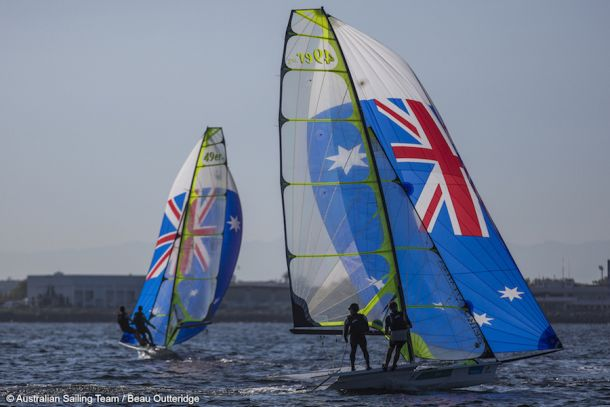 Outteridge and Jensen in the 49er. Photo AST/Beau Outteridge.