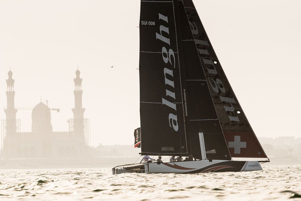 Three-time champions Alinghi dominated on the racetrack in Oman. Photo Lloyd Images.