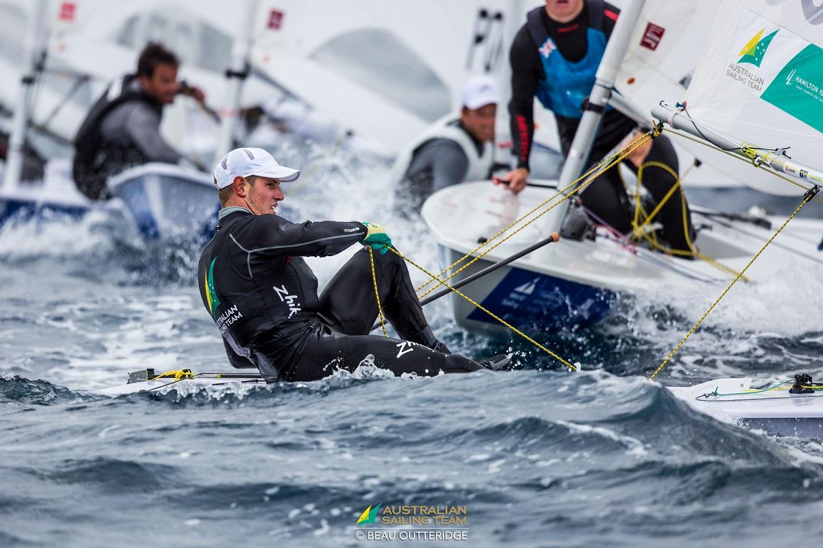Matt Wearn sailing at the Hyeres World Cup. Photo Beau Outteridge/AST.
