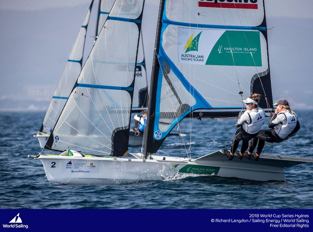 Tash Bryant and Annie Wilmot in the 49erFX at Hyeres 2018. Photo Richard Langdon/Sailing Energy/World Sailing.
