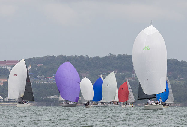 The one-design Platus mix with the IRC 2 fleet. Top of the Gulf Regatta 2018. Photo by Guy Nowell.
