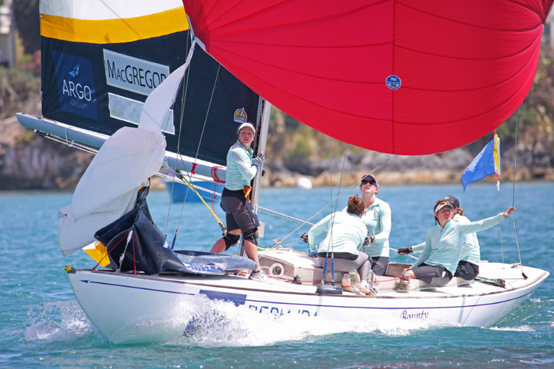 Skipper Lucy MacGregor and crew posted a 5-3 record on the first day of the Argo Group Gold Cup and sits in fourth place overall (©Charles Anderson/RBYC photo).