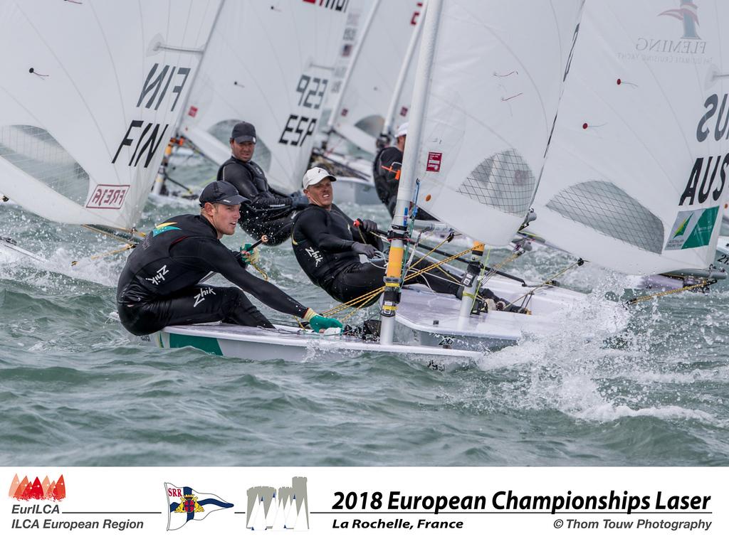 Matt Wearn (foreground) and Tom Burton at the Laser Europeans 2018. Photo Tom Touw.