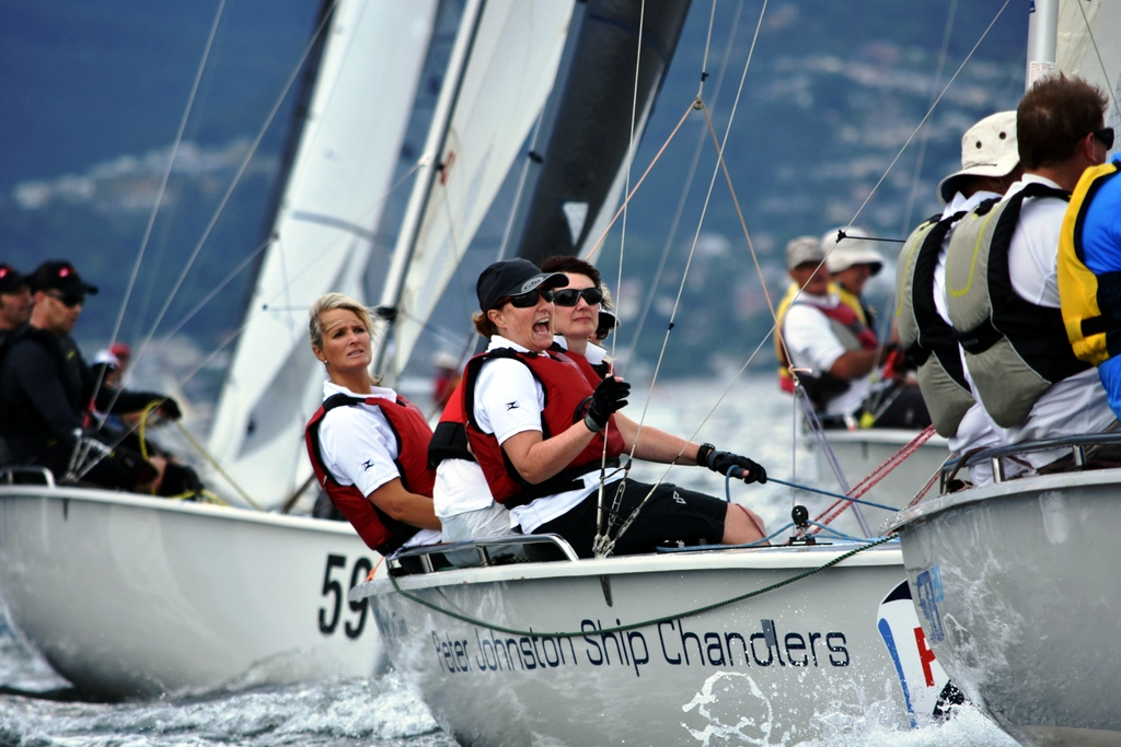 Felicity Allison at the helm of Cook Your Own Dinner in the SB20 worlds on the Derwent last summer.  Photo Jane Austin.