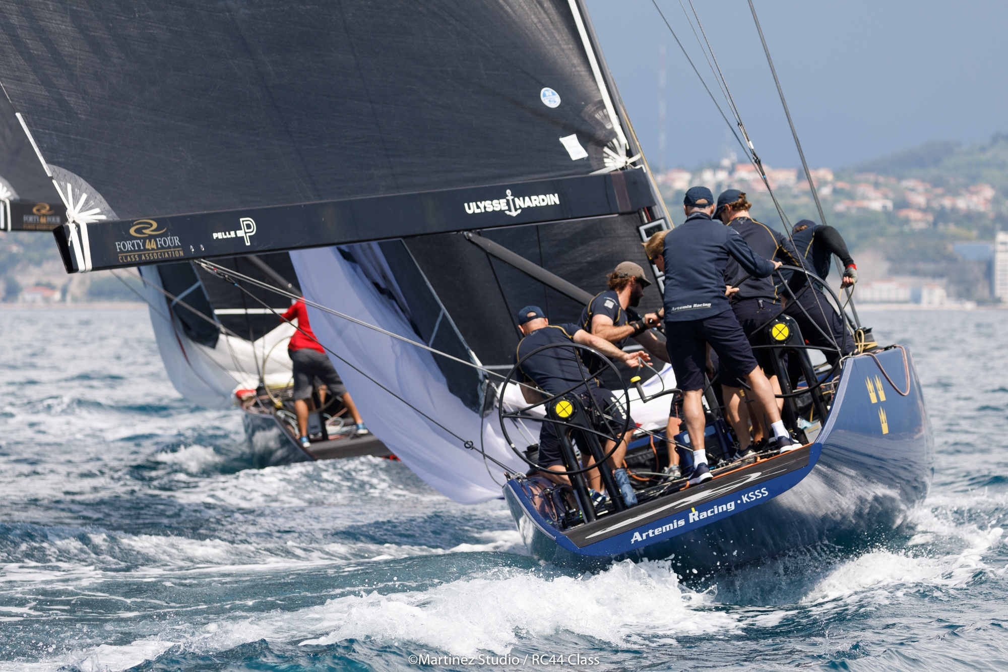 Nathan Outteridge at the helm of Artemis Racing. Photo Martinez Studio.