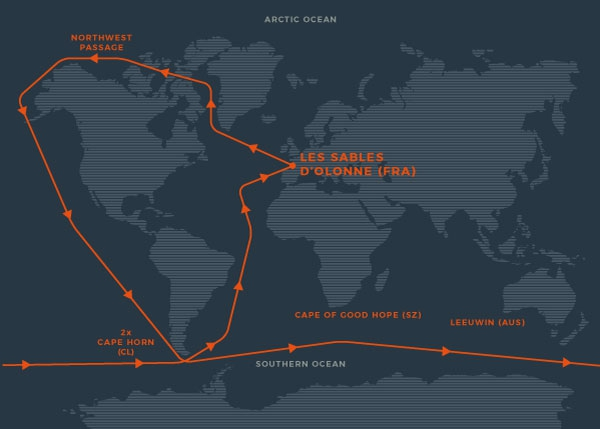 The route for Norbert's solo circumnavigation attempt.