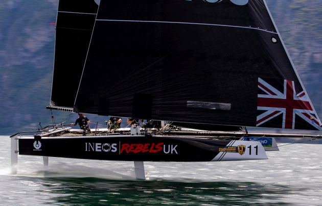 The British crew on board INEOS Rebels UK excelled on day one. Photo ©: Pedro Martinez / GC32 World Championship.