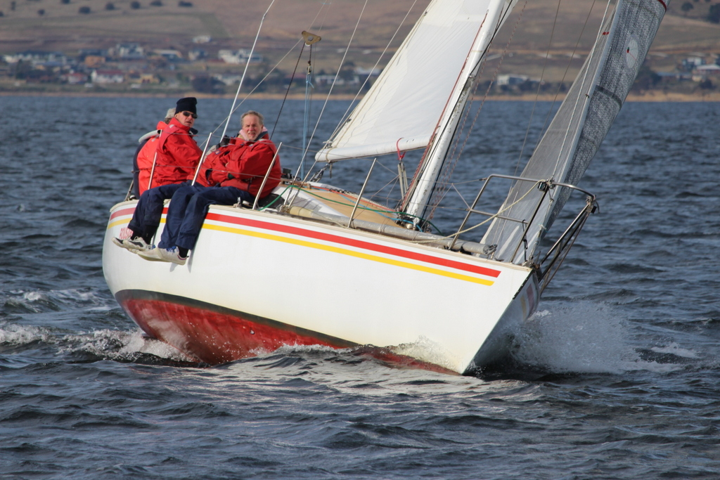Rugged up for winter racing. Rousabout won Division 2. Photo Peter Watson.