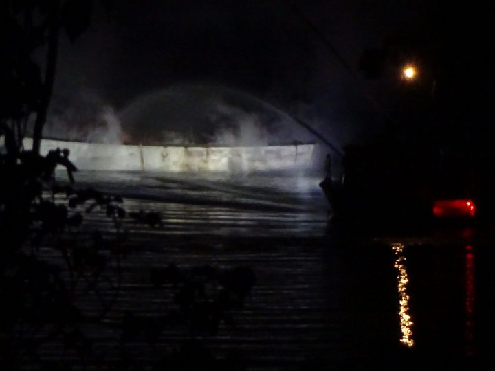 A fireboat put out a boat fire near the Selkirk Trestle Bridge on May 31
