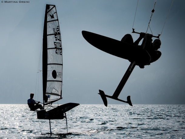 Flying boats will head to Malcesine for Foiling Week. Photo Martina Orsini.