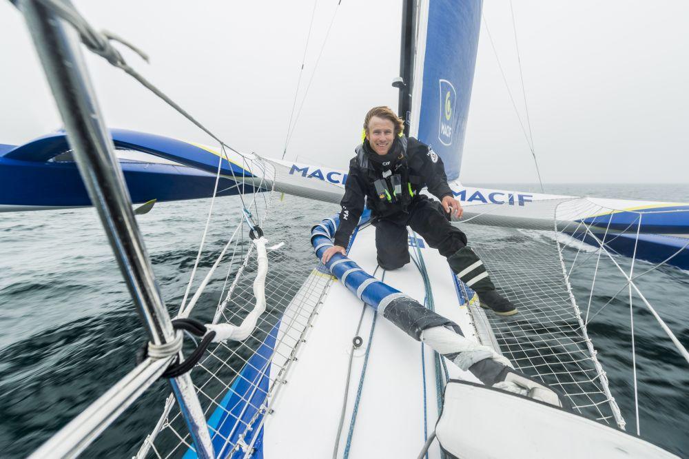 François Gabart  on board Macif. Crédit: Vincent Curutchet / ALéA / Macif