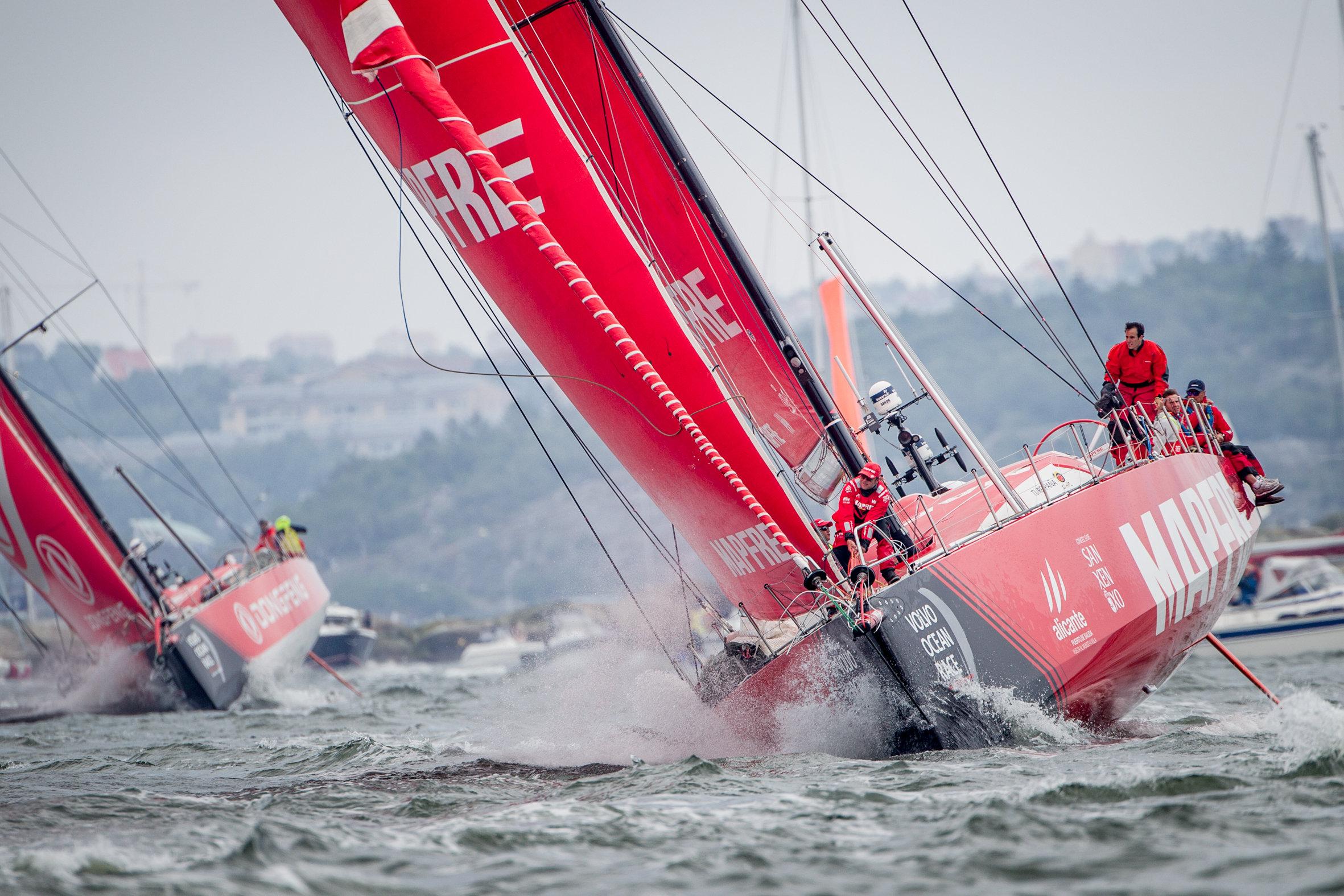 MAPFRE during the in-port race in Gothenburg. Photo © María Muiña / MAPFRE.