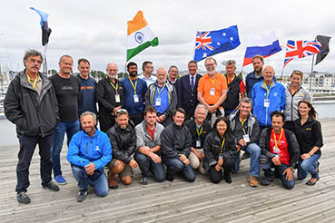GGR skippers congregate in Les Sables d'Olonne. Back row left to right: Loic Lepage (FRA) Uku Randmaa (EST)