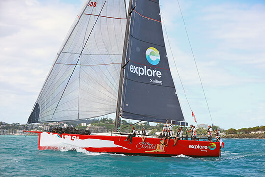 Miss Scarlet coming to the finish Groupama 2018 - Credit Eye Fly.