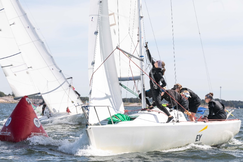 Marinella Laaksonen and her L2 Match Racing Team have 10 wins and 1 loss after day two of the Helsinki Women's Match. Sebastian Mardones