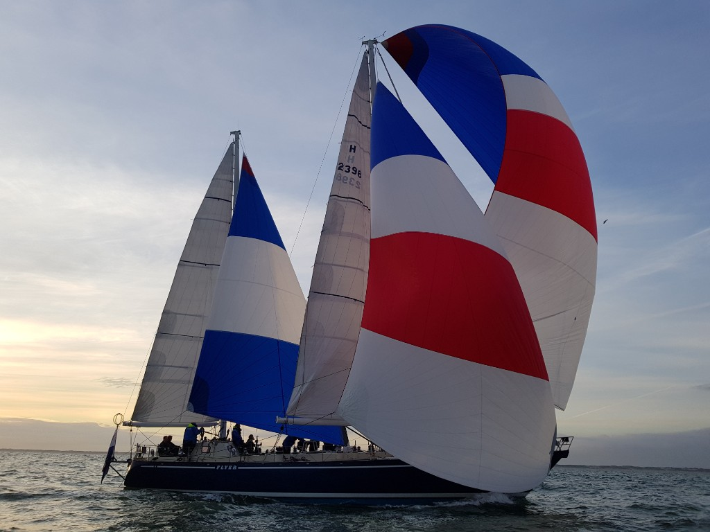 Legendary Whitbread Round the World Race winner flyer close to the finish of the Legends Race.