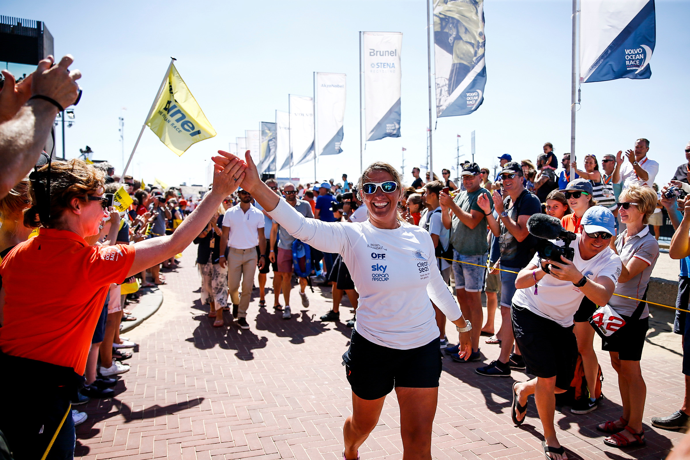 Dee-Caffari-on-a-victory-lap-after-winning-the-final-In-Port-race---Marina-Garcia/VOR-pic
