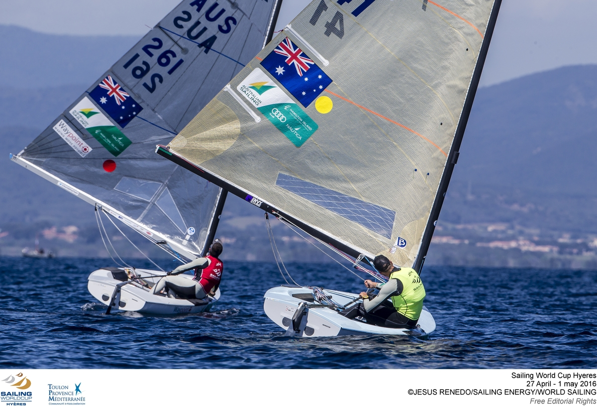 Lilley and Tweddell racing in Hyeres. Photo Jesus Renedo/Sailing Energy/World Sailing.