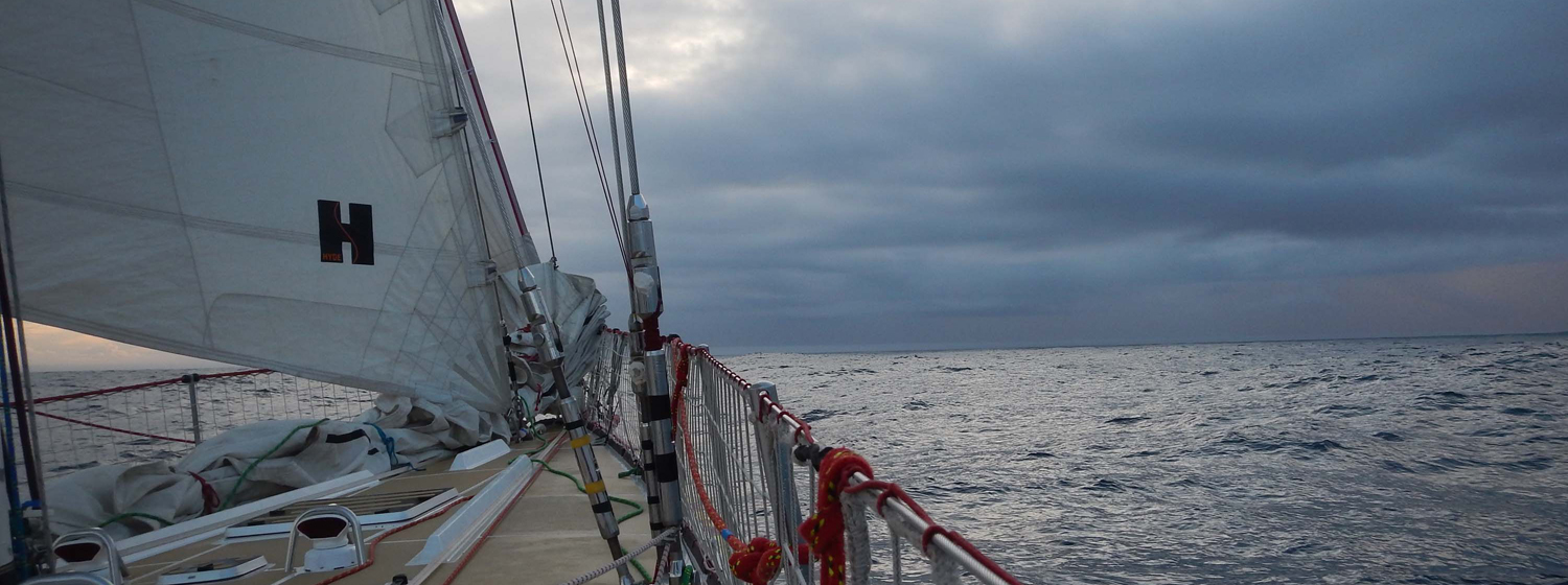 Fog approaches the Clipper fleet in the North Atlantic.