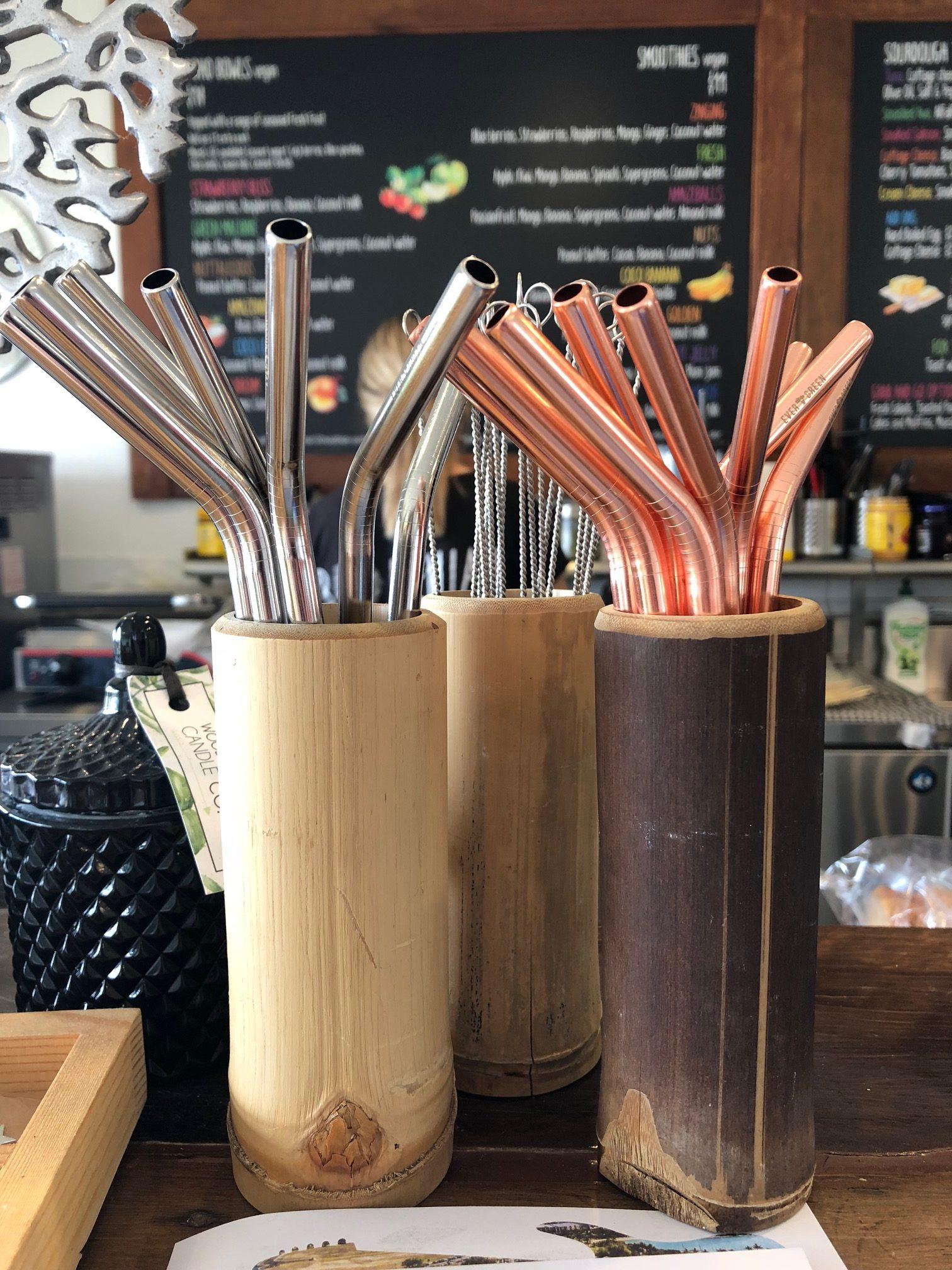 Bohemian Raw Cafe stainless steel straws.