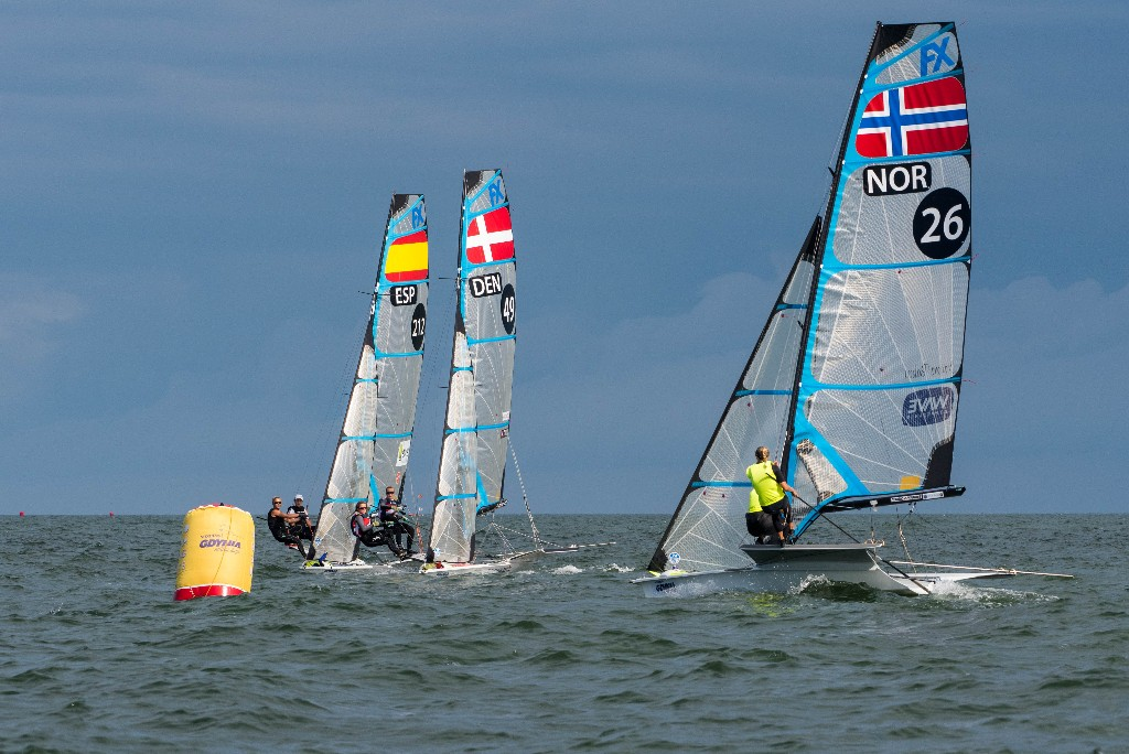 49erFX racing at the 2018 Europeans.