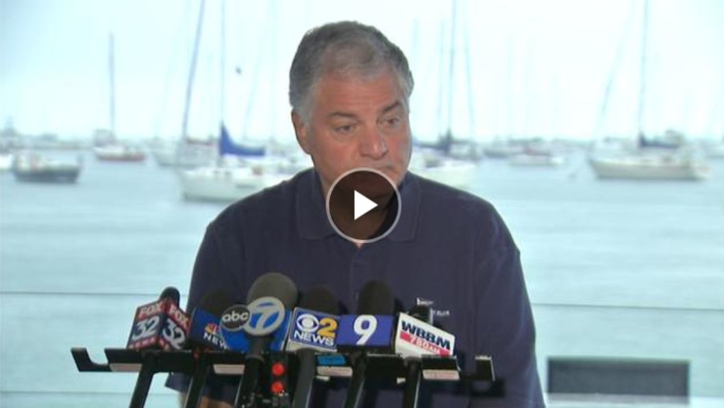 Nick Berberian of the Chicago Yacht Club at a press conference regarding the MOB incident. Source ABC7.