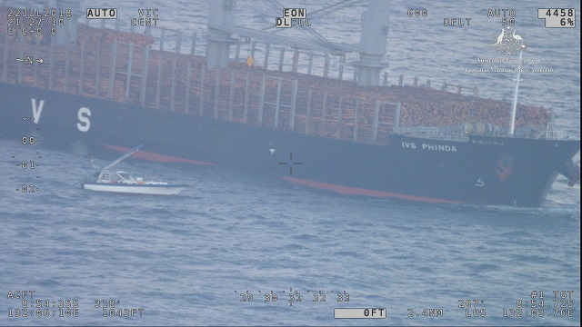 Jepeda IV rescued by the cargo vessel IVS Phinda. Image AMSA.
