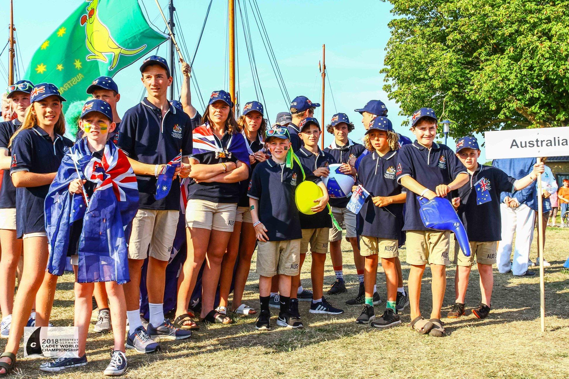 The Australian Cadet team at the opening ceremony. Photo Tony Bull.