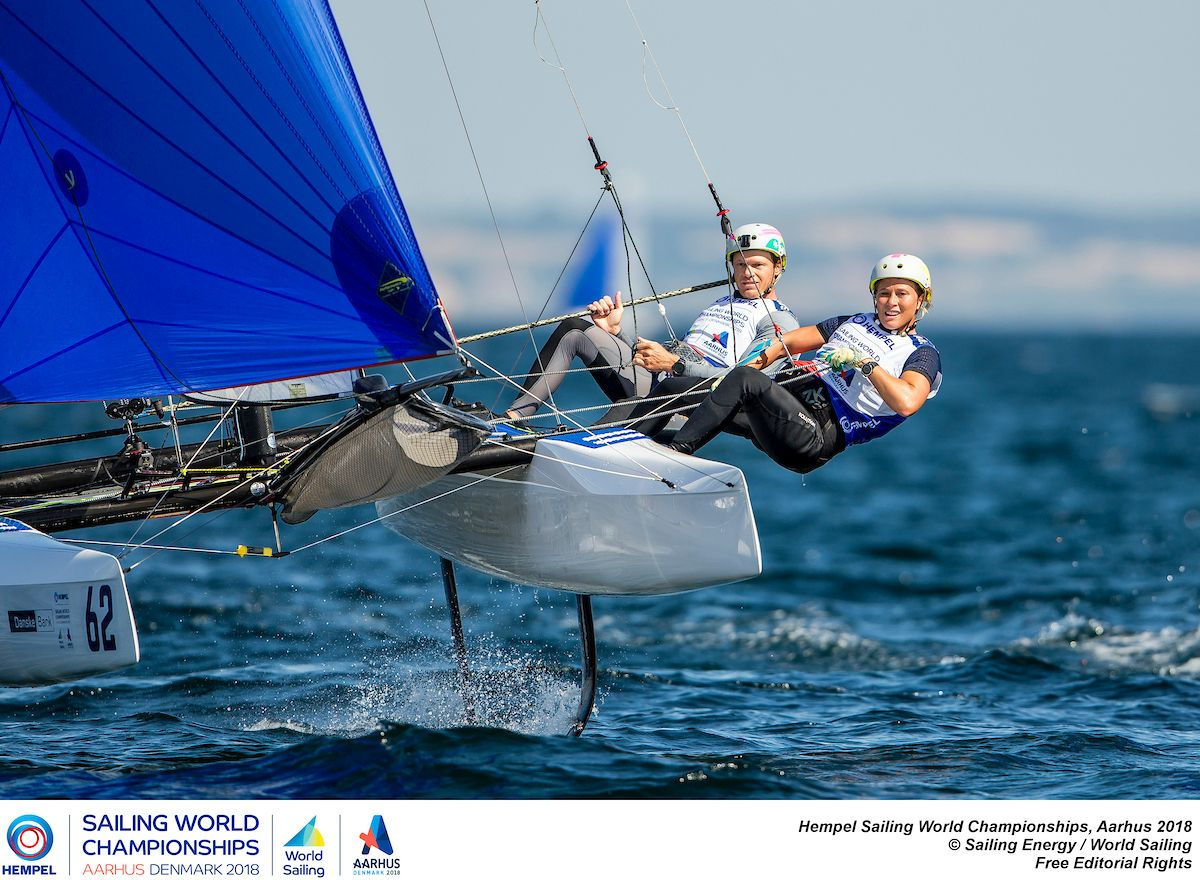 Nathan and Haylee Outteridge in the Nacra 17 at Aarhus. Photo Pedro Martinez/Sailing Energy/Worlds Sailing.