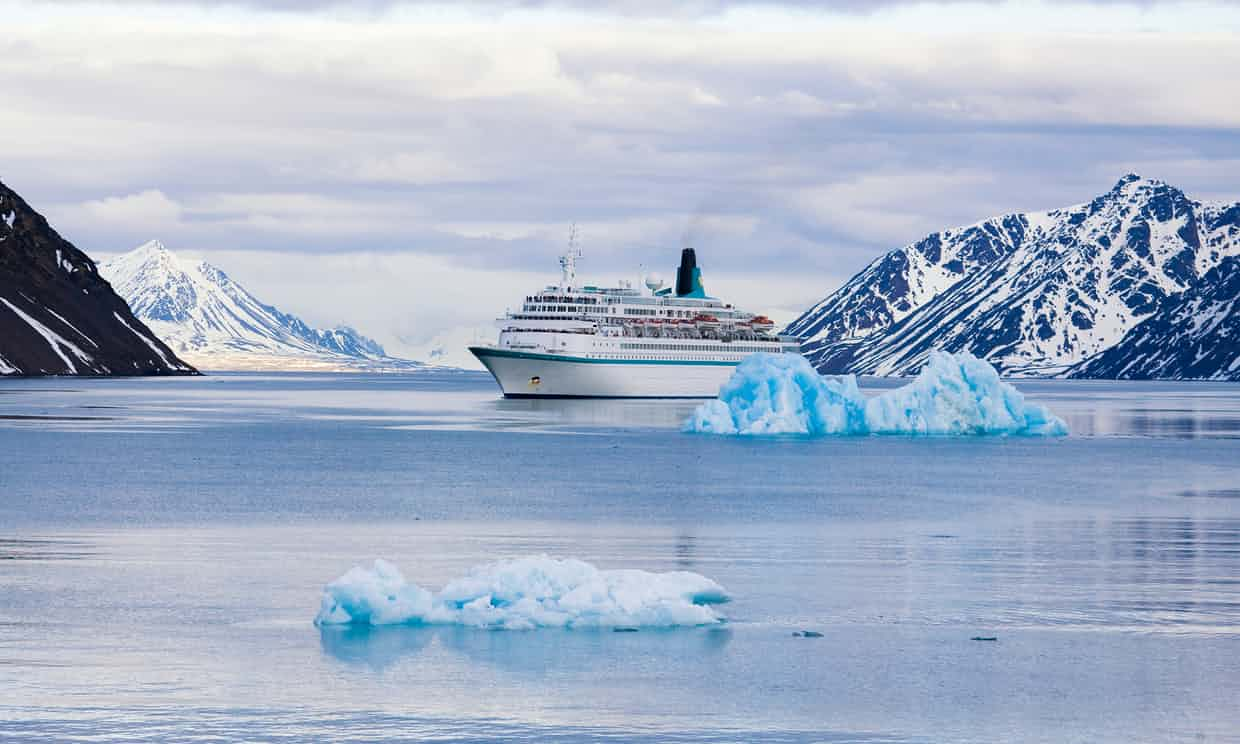 A cruise ship in the Svalbard archpelago. Photograph: Frank Lukasseck/Getty Images.