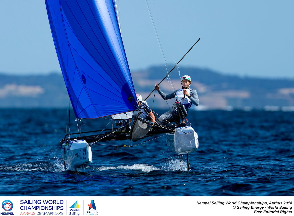Nathan and Haylee Outteridge in the Nacra 17 at Aarhus. Photo Pedro Martinez/Sailing Energy/World Sailing.