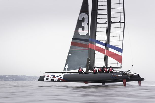 BAR test the foiling AC45 on the Solent. Photo (c) Lloyd images.