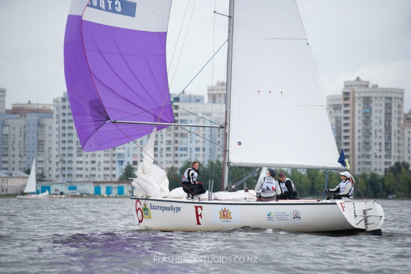 The Swiss Women's Match Racing Team on their way to winning the Repechage stage. Photo: FLASHBACKSTUDIOS.CO.NZ