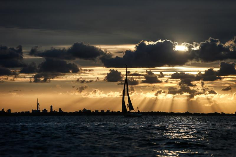 Sunrise as British Beagle makes her way to the finish line at the Royal Yacht Squadron in Cowes © Paul Wyeth.