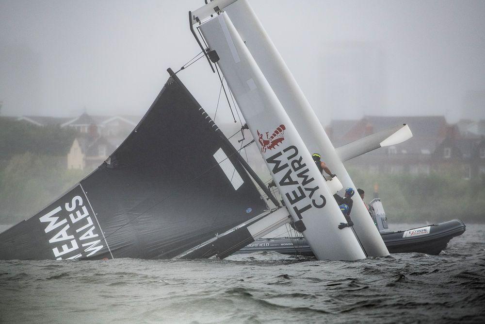The Welsh boat capsizes in Cardiff Harbour. Photo © Vincent Curutchet / Lloyd Images.