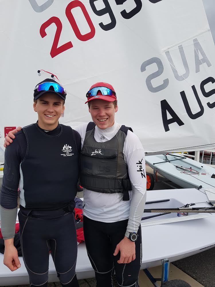Tasmanians Nick Smart (left) and Max Gluskie who were among the five AUS boys at the Kiel regatta. Photo Michael Smart.