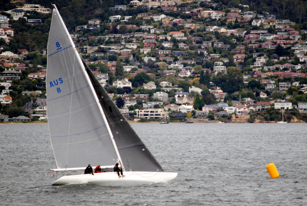 Classic 8-metre yacht Juanita won the final Division 1 race of the DSS Winter series. Photo Peter Watson.